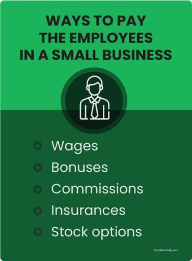 How to Pay Employees in a Small Business WAYS TO PAY THE EMPLOYEES IN A SMAILL BUSINESS wages bonuses commissions insurances stock options infographic