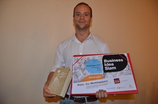 Als Preis gewann Hedrich einen Aufenthalt im Impact Hub am Hauptbahnhof. Foto: Stephan Hönigschmid