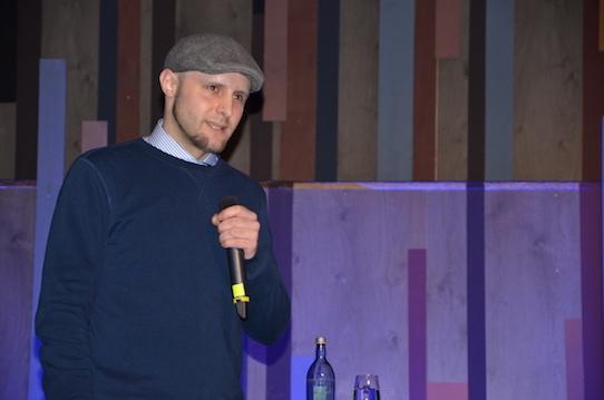 """Gregor Merker sprach bei der Flip-the-Flop-Night über das Scheitern seines Unternehmens """"Topf Secret"""". Foto: Stephan Hönigschmid"""