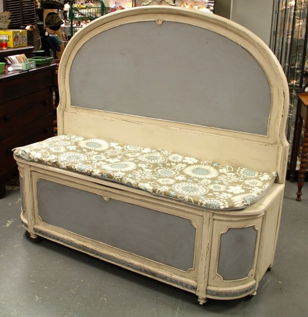 found in ithaca » antique headboard & footboard re-purposed into a
