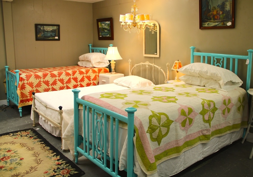 Found In Ithaca Pair Of Aqua Metal Twin Beds Antique Ornate Cast Iron Twin Bed Sold Summer Chandy With Shades Small White Mirror