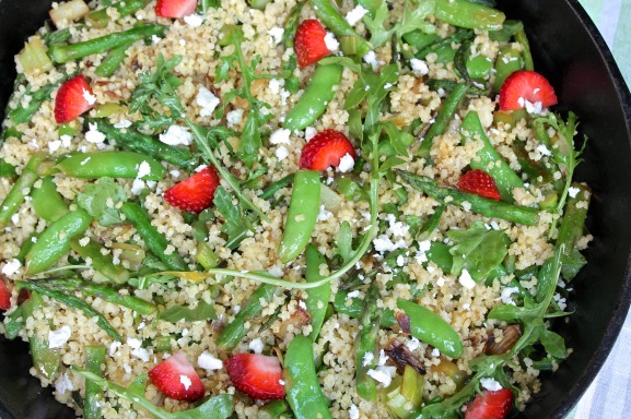 A deliciously healthy, filling salad that's perfect for the season. I love to use extra dressing recipe provided, which is also wonderful on more basic strawberry salads, including greens, avocado, goat cheese, pecans, etc.
