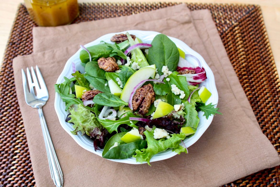 Apple Pecan Spring Greens with Maple Dijon Vinaigrette-easy, healthy and brimming with flavor!