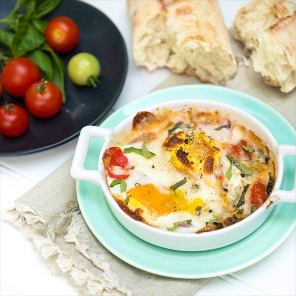 Caprese Style Baked Eggs -Easy, protein-rich and delicious any time of day