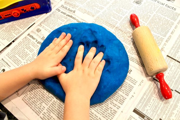Homemade Playdough is easy with these simple instructions. As an added bonus, the texture is so much smoother than store-bought and there's less crumby mess!
