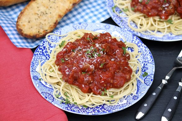 This meaty sauce is easy to make and always a crowd-pleaser. The yield is a generous 3+ quarts, so there's plenty to freeze or to share!