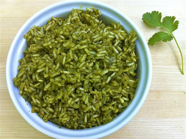 Green RIce-Bursting with flavor and good-for-you ingredients, this colorful rice complements any basic protein and a wide variety of Latin, Asian and African dishes.