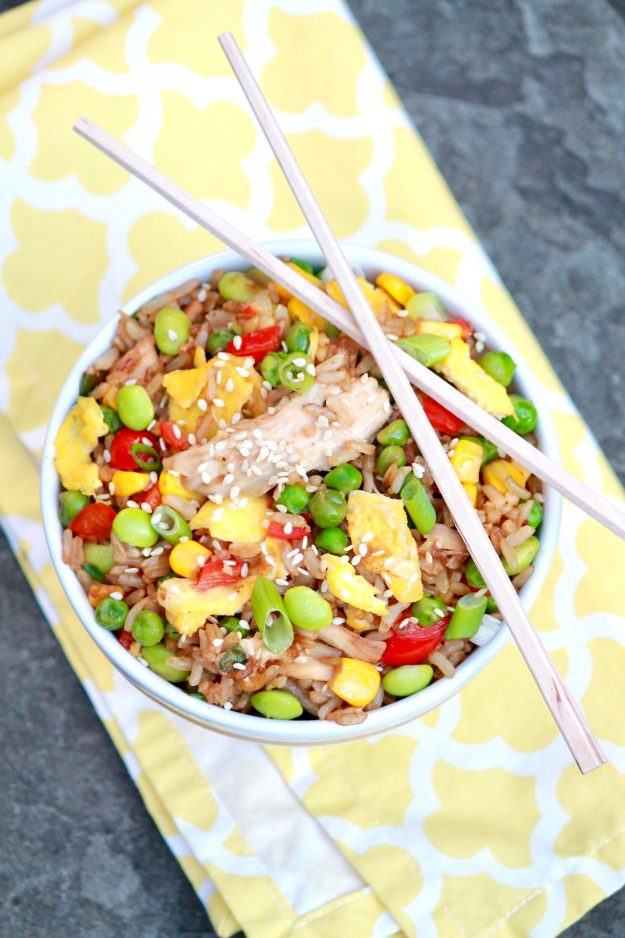 Chicken Fried Rice -The flavor of homemade fried rice will rival your favoritetakeout version and be healthier, too. Make use of leftover rice and chicken for the easiest of meals.