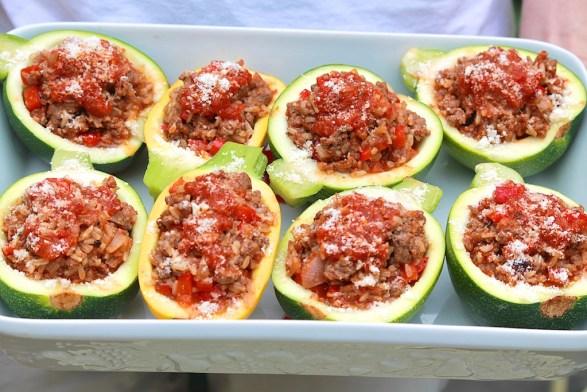 Beef & Rice Stuffed 8-Ball Zucchini