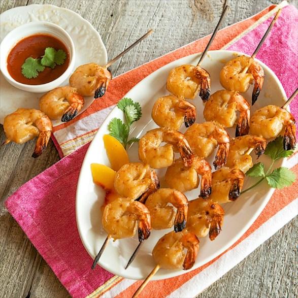 Peach Ginger Shrimp Kabobs