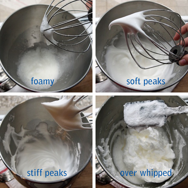 Stages of whipped egg whites