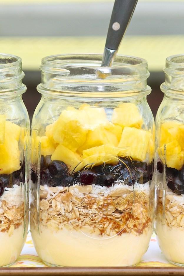 Make-Ahead Blueberry Pineapple Breakfast Parfaits