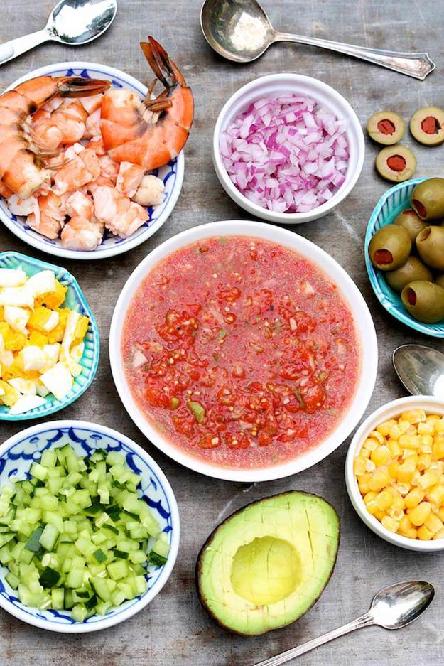 Classic Gazpacho with a toppings bar