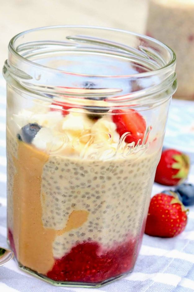 PB&J Breakfast Chia Pudding -- This healthy, prep-ahead breakfast makes me feel great and is surprisingly satisfying.  Feel free to use your favorite jam in place of the chia jam recipe and customize with your favorite fruits and toppings.