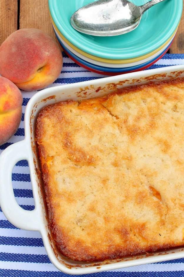 Cuppa Cuppa Cuppa Cobbler -- sweet peaches, a novel yet easy preparation, andthosecrispy edges make this seasonal dessert a perennialfavorite!