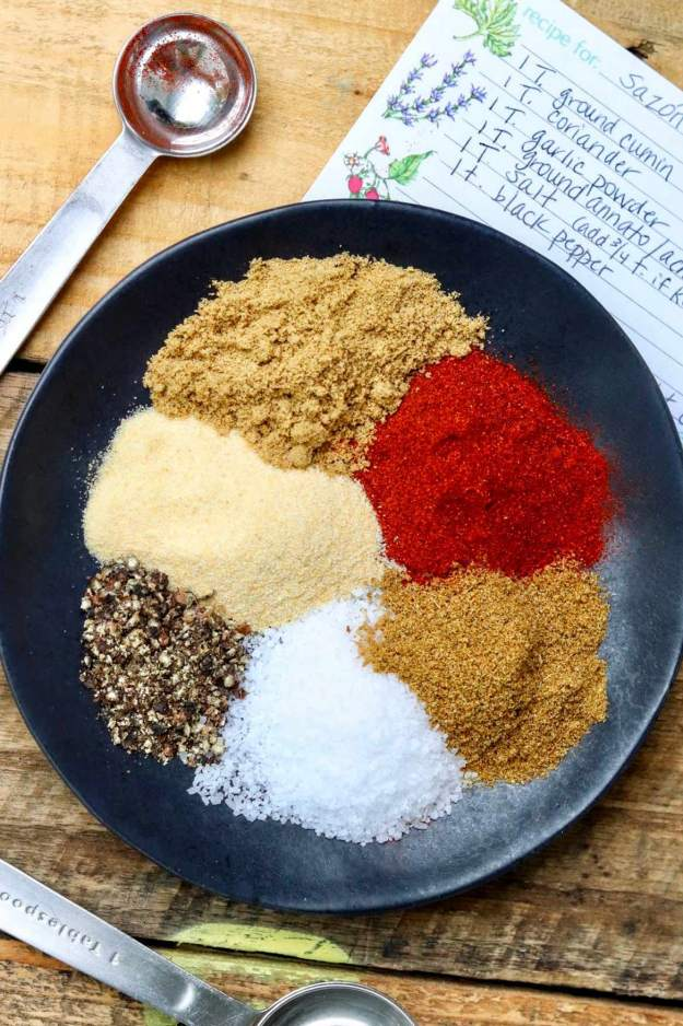 Homemade Sazón Seasoning – An easy-to-make alternative to the store-bought packets that eliminates MSG and lets you control the salt. Ideal for homemade chicken & rice, a variety of Latin dishes, and as a dry spice rub.