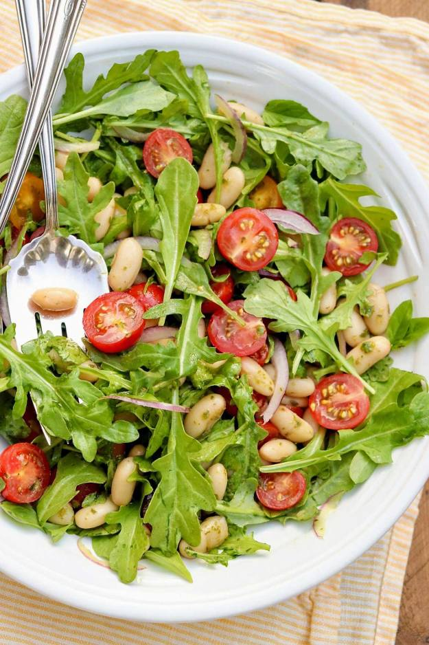 Tomato & White Bean Salad with Basil Vinaigrette — healthy, endlessly adaptable, and can be made in a flash with the easy basil vinaigrette recipe or your favorite pesto.