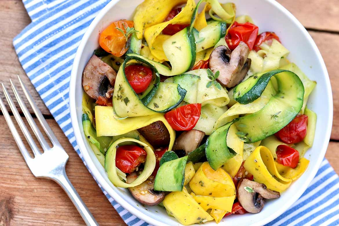 Zucchini Noodles Made Easy ~ This simplified method of creating zucchini noodles yields wide ribbons that require nothing more than a quick sear and a sprinkle of salt and pepper – yet they serve as a fine foundation for a plethora of other toppings, too.
