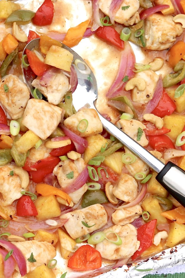 Sheet Pan Sweet & Sour Chicken ~ Sweet and spicy mingle with a hint of heat in this family-friendly sheet pan meal that's worthy of a spot on the weekly dinner rotation. The prep-ahead sauce stores well and makes enough for a second meal another night.