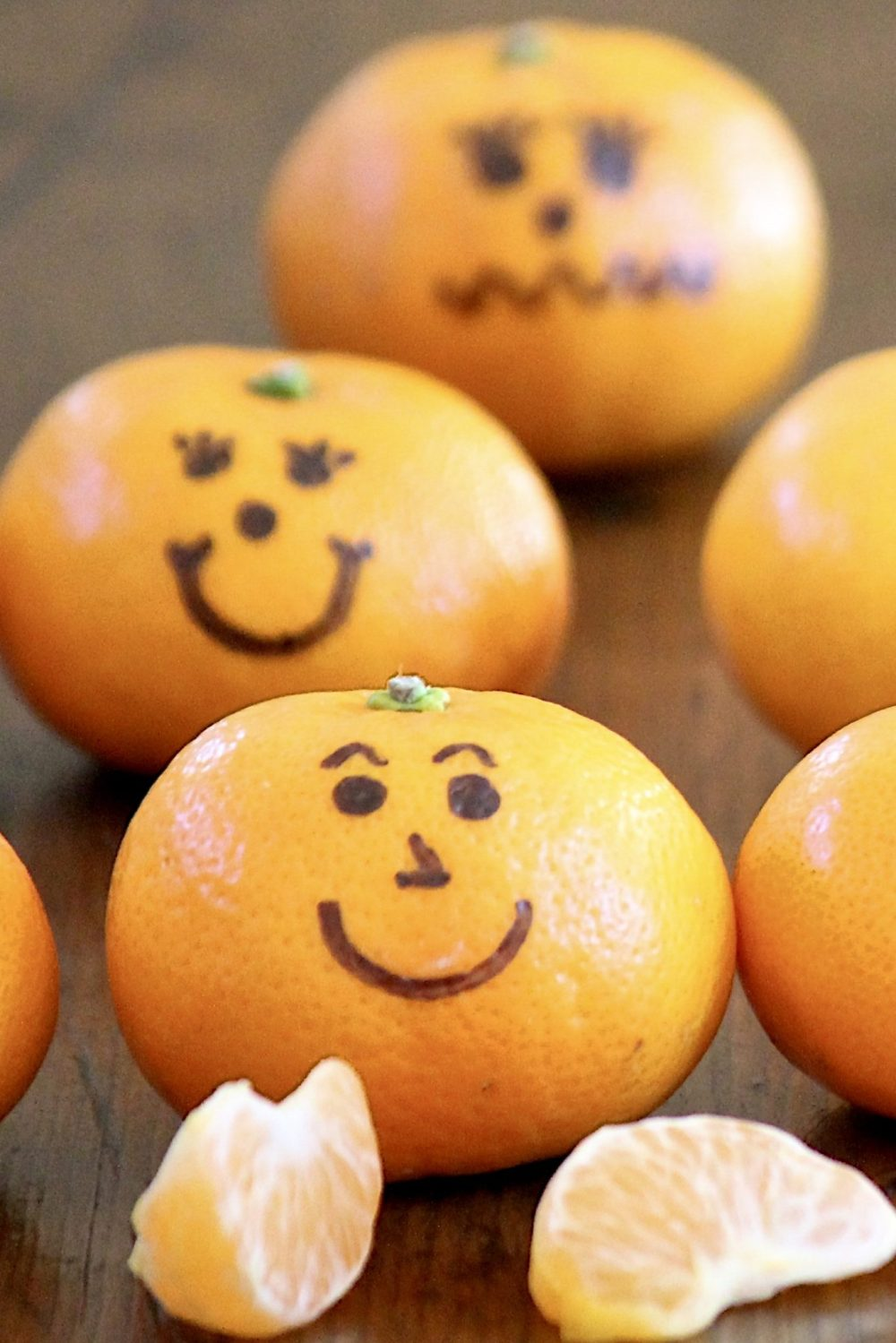 Clementine Jack-o'-lanterns – These healthy snacks make a fun project for children, whether at home or school parties, and are a welcome lunchbox surprise. There's a fun story behind them (plus an important tip for making the ink stick), and because every good celebration can benefit fromsome themed trivia, I've included some Halloween fun facts to use asconversation starters at holiday parties and around the dinner table.