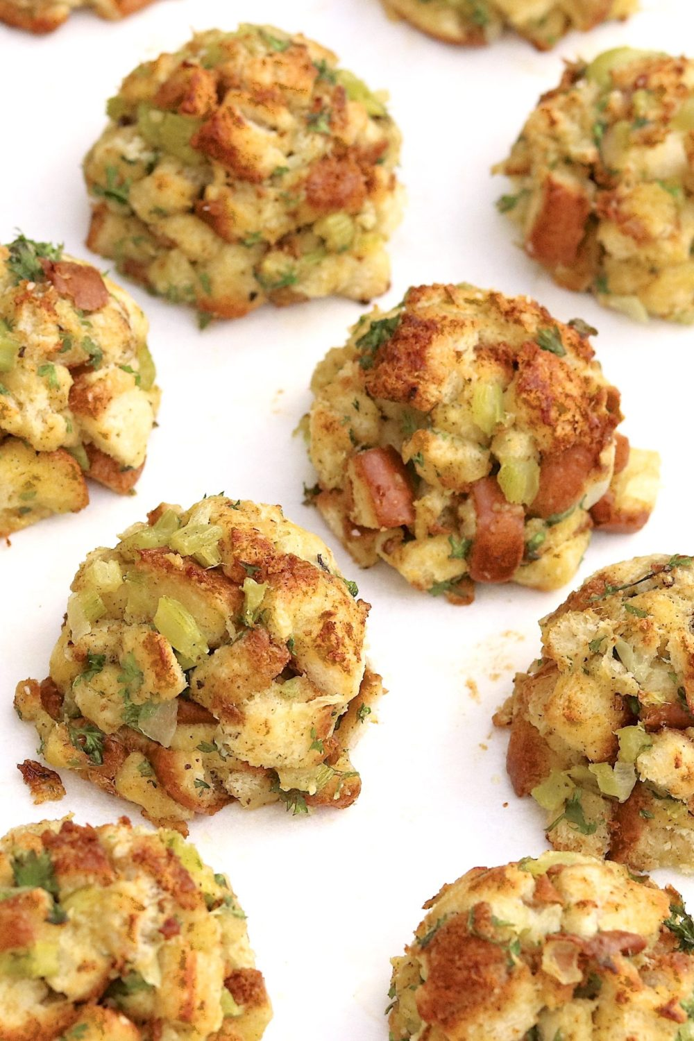 Stuffing Balls  --  Clever, portion-controlled, and a surefire hit on a holiday table or alongside a variety of poultry and pork dishes throughout the year. They're easy to make for any size crowd and offer prep-ahead convenience.
