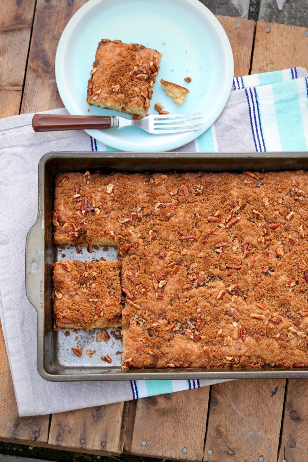 Overnight Cinnamon Pecan Coffee Cake is alongtime family favorite. Classic yet super simple, this recipe tastes just like a good coffee cake should!