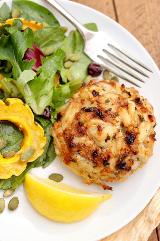 Maryland Crab Cakes - No fryer needed for crisp edges and classic crab cake flavor. Packed with tender chunks of meat, this meal is elegant enough for special occasions yet easy enough for a busy weeknight.