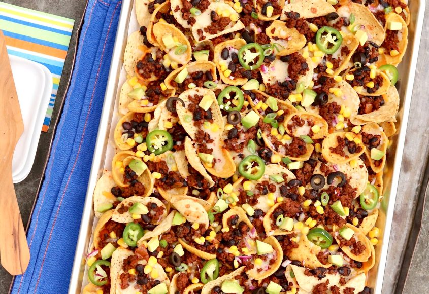 Super Bowl Nachos are the gold standard of nachos and include two types of chips for maximum crunch. Loaded with flavorful toppings (with a hint of health appeal), these nachos are game day perfection and hearty enough to be an occasional meal!