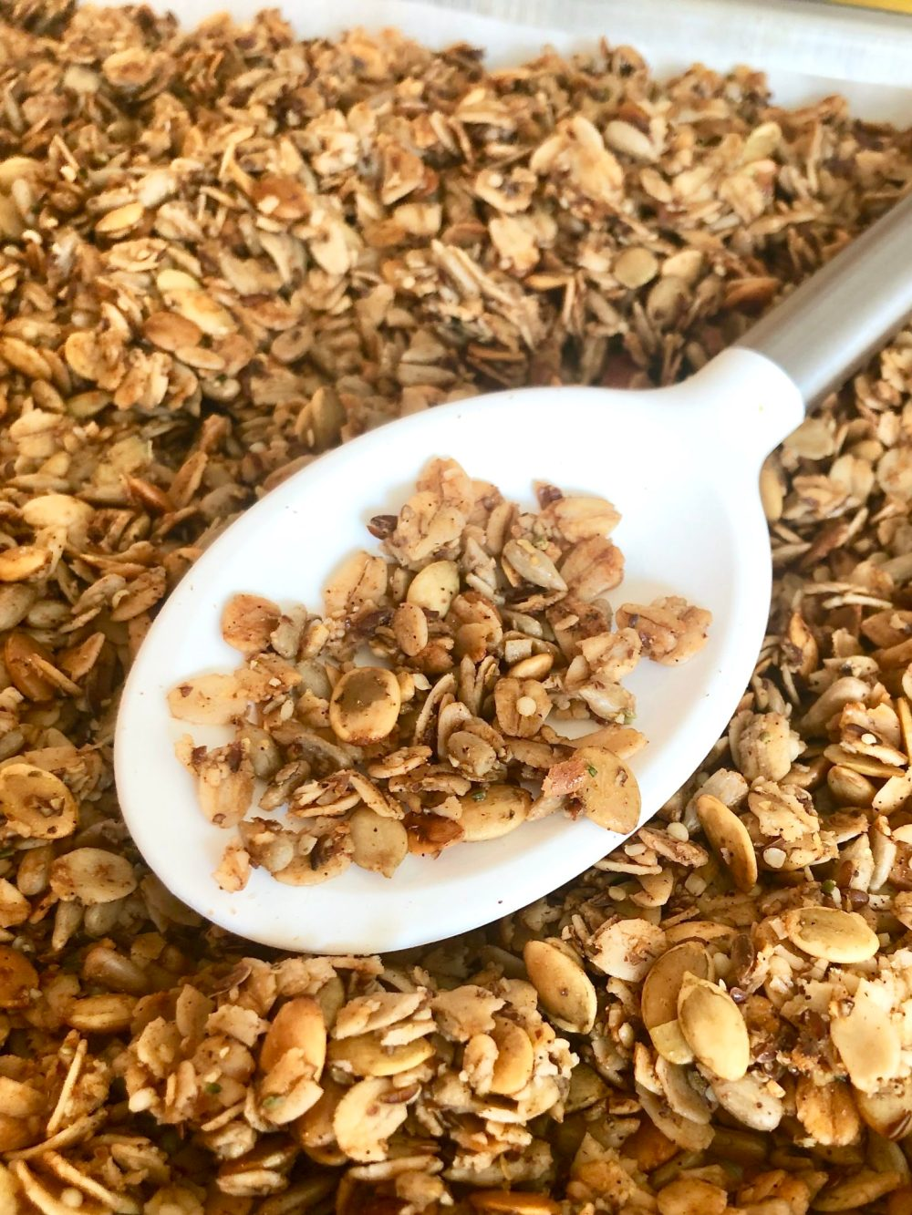 I gave my latest batch of LOLITA'S LOW SUGAR GRANOLA some fall flair by adding a half teaspoon of freshly ground nutmeg and a quarter teaspoon of pumpkin pie spice to the regular recipe.