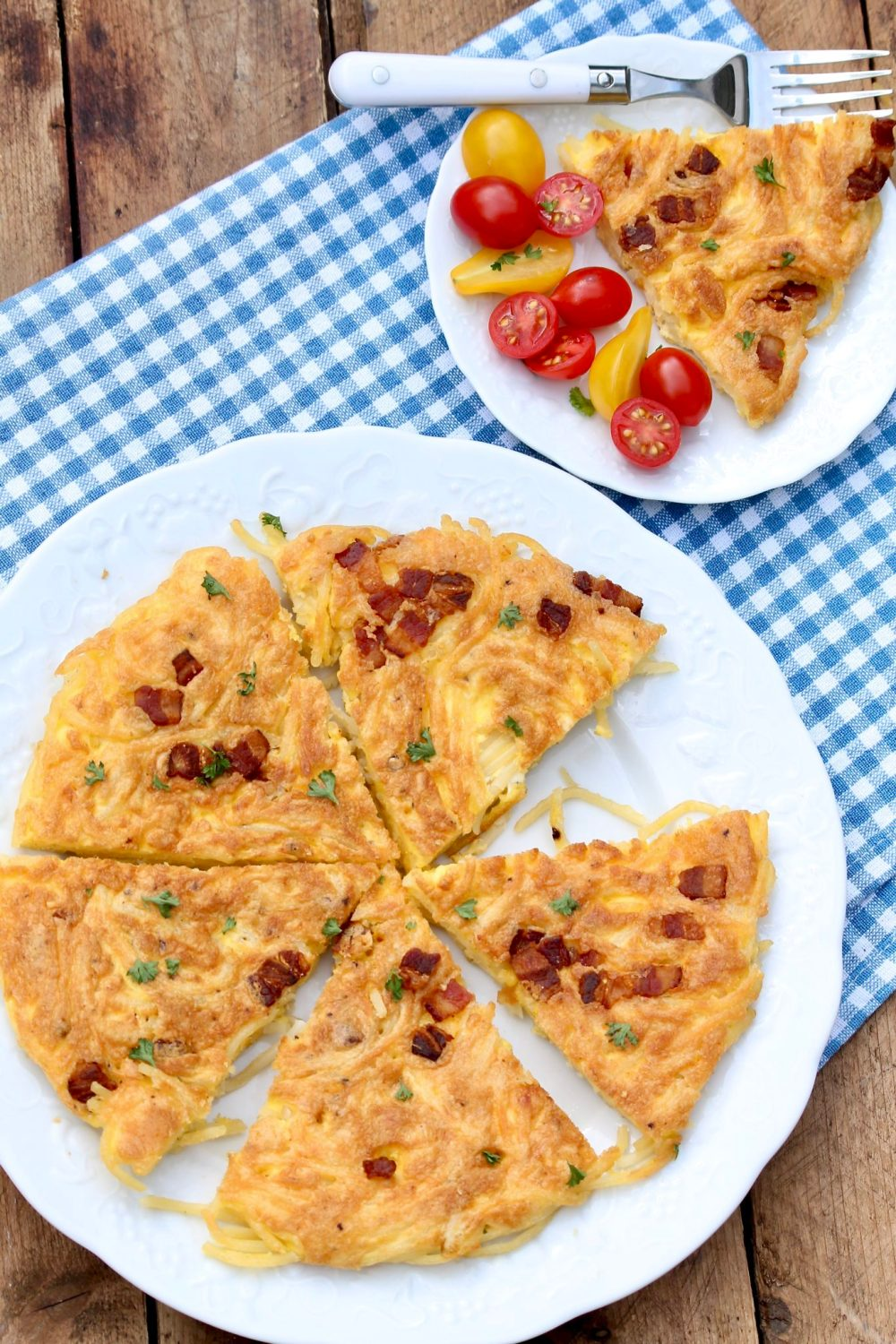 Leftover Pasta Frittata-This speedy dish is the perfect way to stretch leftover pasta into a fun new meal. Recipe works with spaghetti squash, too!