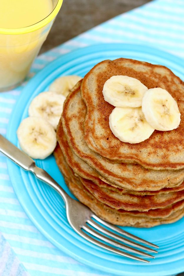 Banana Bread Pancakes Or Waffles-Naturally gluten-free and healthy thanks to the use of oats or oat flour, these light and fluffy pancakes provide a guilt-free way to indulge!