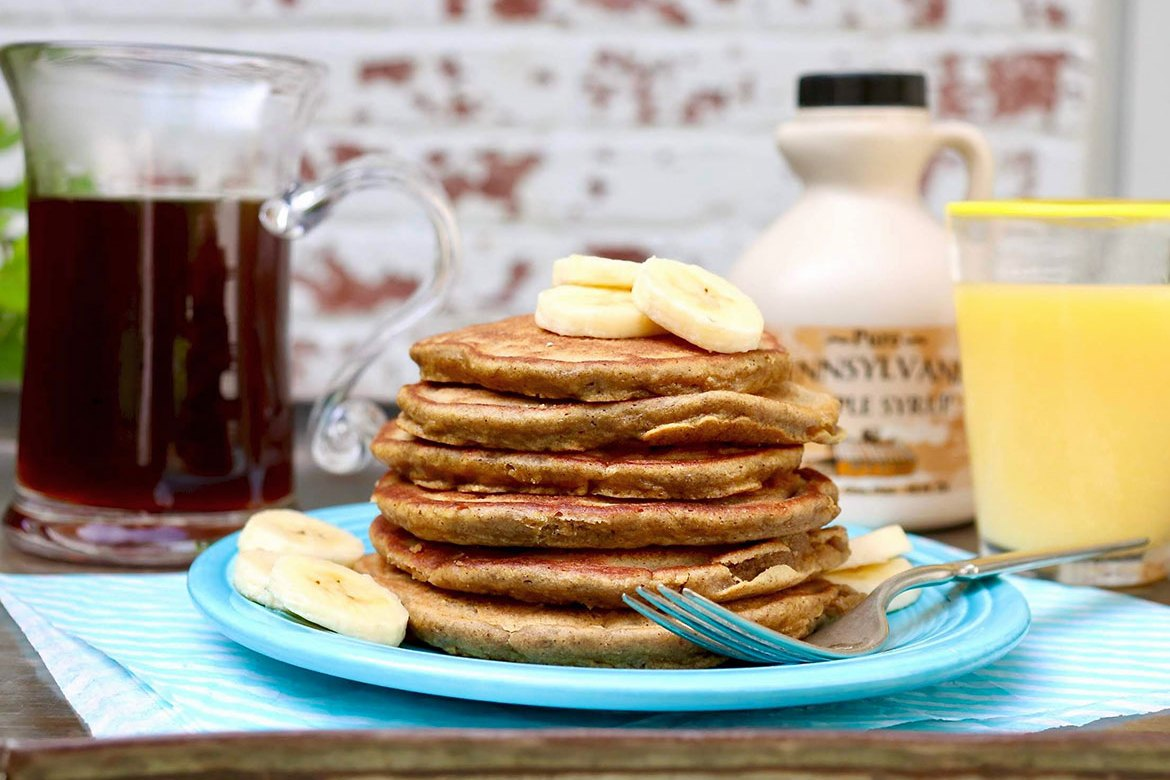 Banana Bread Pancakes or Waffles-a naturally gluten-free version of the much-loved quick bread, these light and fluffy pancakes incorporate heart-healthy oat flour or blended oats.