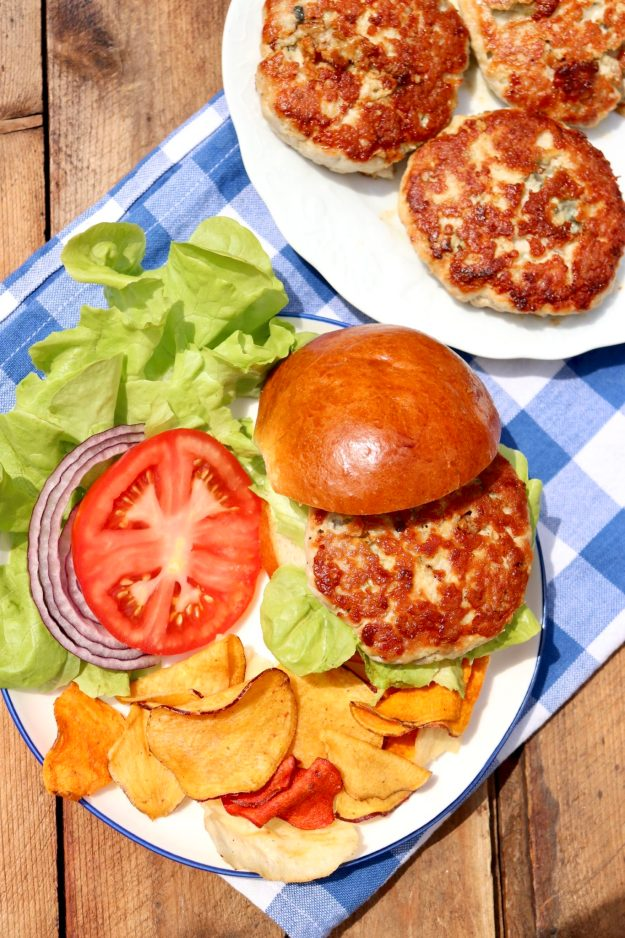 Blue Cheese Turkey Burgers-3 simple ingredients make THE BEST turkey burgers ever...tender, flavorful and not the least bit dry. Easy to cook on the grill or stovetop.