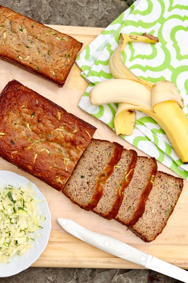 Grain-free, naturally sweetened Zucchini Banana (or Applesauce) Bread-this healthy edition of the ultimate summerquick bread is easy to customize andcompletelydelicious