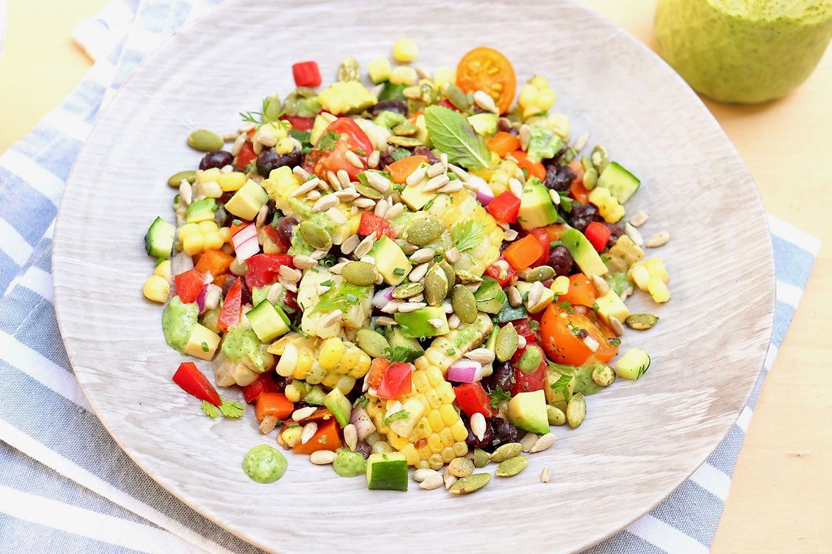 SUMMER GARDEN JUMBLE-A no-cook, plant-based meal that's nutrient-rich and endlessly customizable.Store in the fridge and simply scoop when hungry!