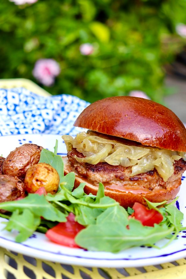I love a good beef or turkey burger, but this pork variation takes the burger game to a new level. The base recipe is an incredibly easy family favorite. The onion jam adds a gourmet element and tastes like something you may eat while vacationing on a tropical island!