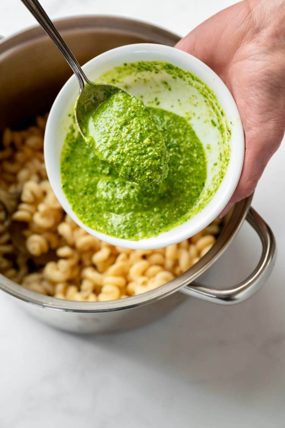 Easy, accessible, and endlessly versatile, this flavorful pesto is especially ideal when fresh herbs aren't available. It stays green, too!