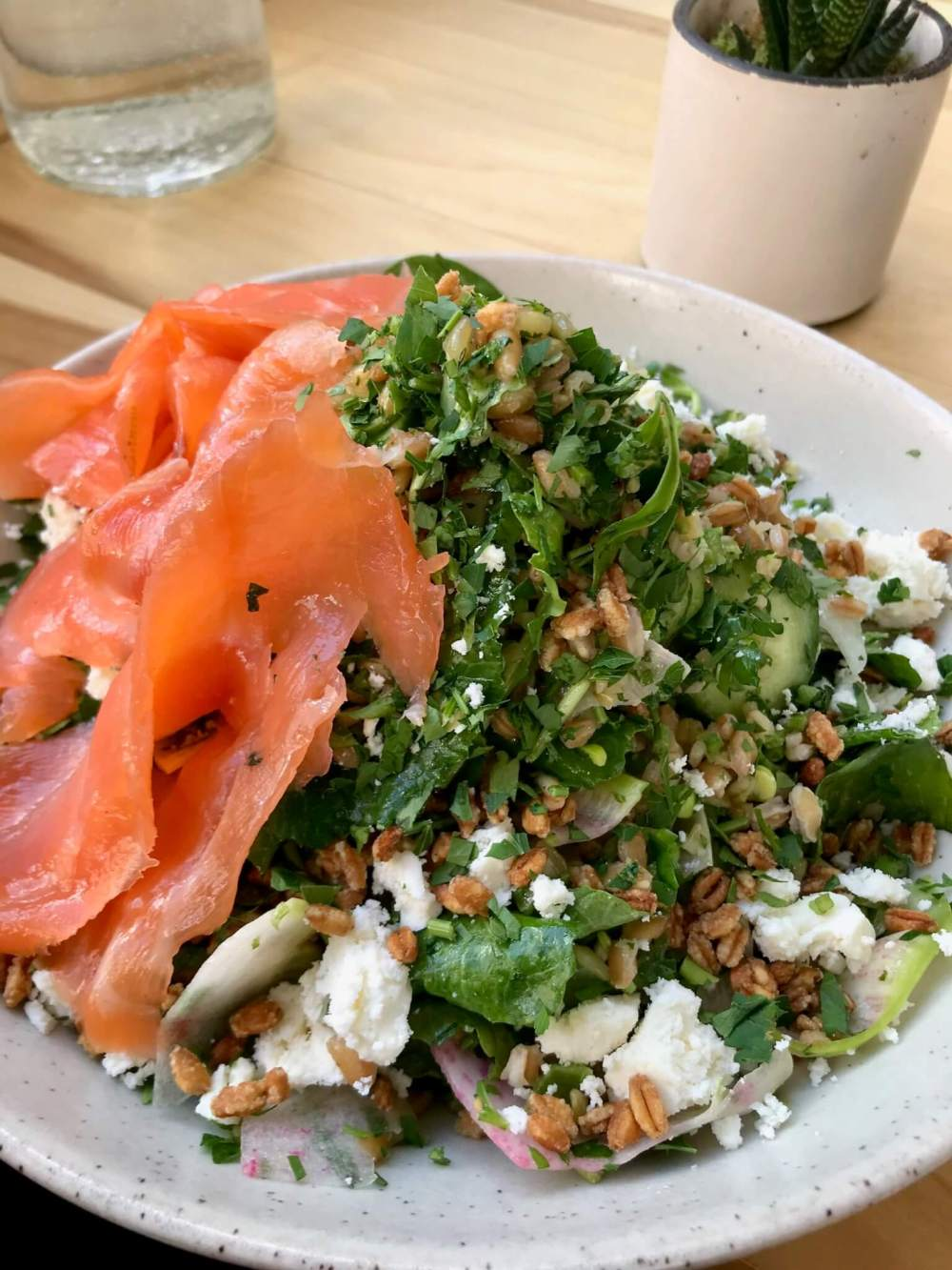 For a unique protein and flavor addition to a kale salad, try adding smoked salmon.