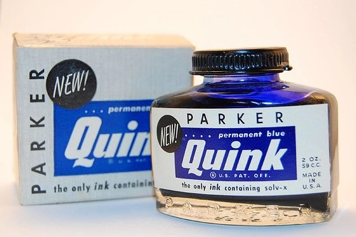 What kind of ink to use in a fountain pen Vintage Parker Quink permanent blue fountain pen ink bottle and box