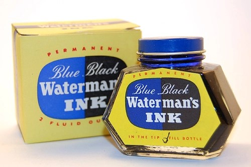 Vintage Waterman's blue-black fountain pen ink bottle and box