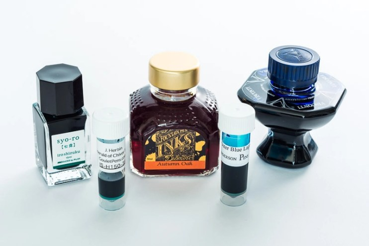 fountain pen ink bottles and sample vials