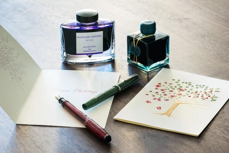 fountain pen holiday card esterbrook j herbin emerald iroshizuku ink