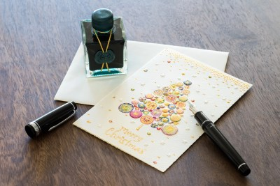 j herbin emerald of chivor fountain pen holiday card