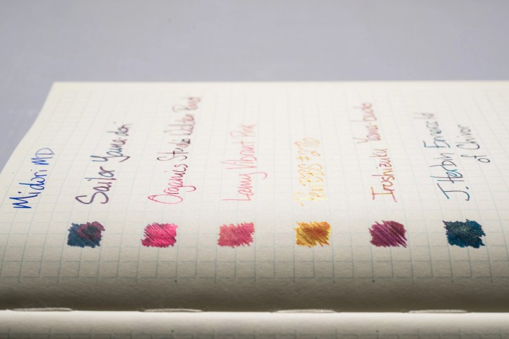 How does paper affect fountain pen ink sheen midori md side view