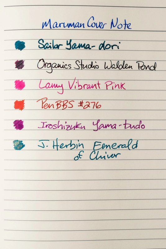 How does paper affect fountain pen ink sheen maruman cover note