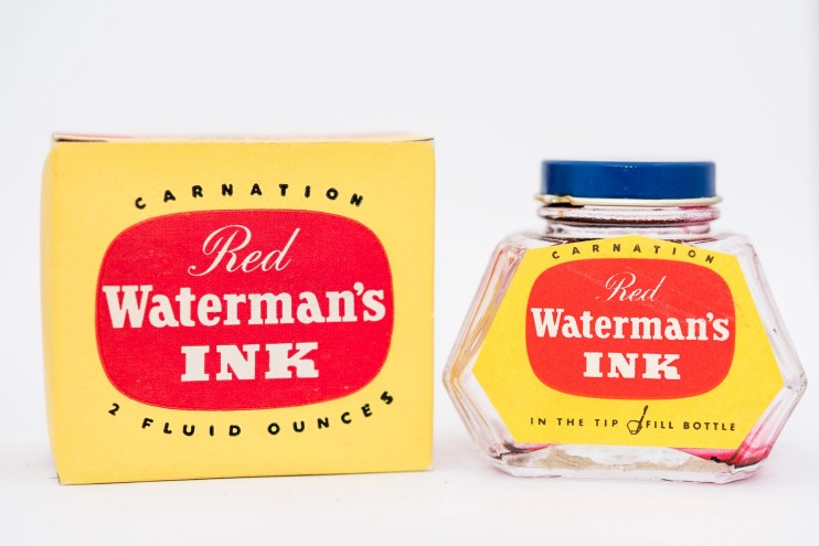 Identifying Vintage Fountain Pen Ink Bottles and Boxes waterman carnation red