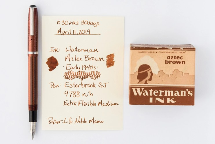waterman aztec brown fountain pen ink