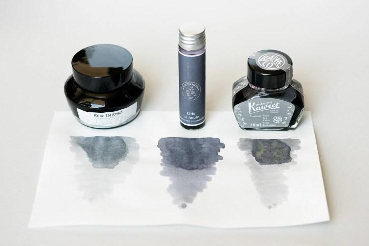 fountain pen inks Kobe #53 Kitano Pearl Silver Jacques Herbin Gris de Houle Kaweco Smokey Grey