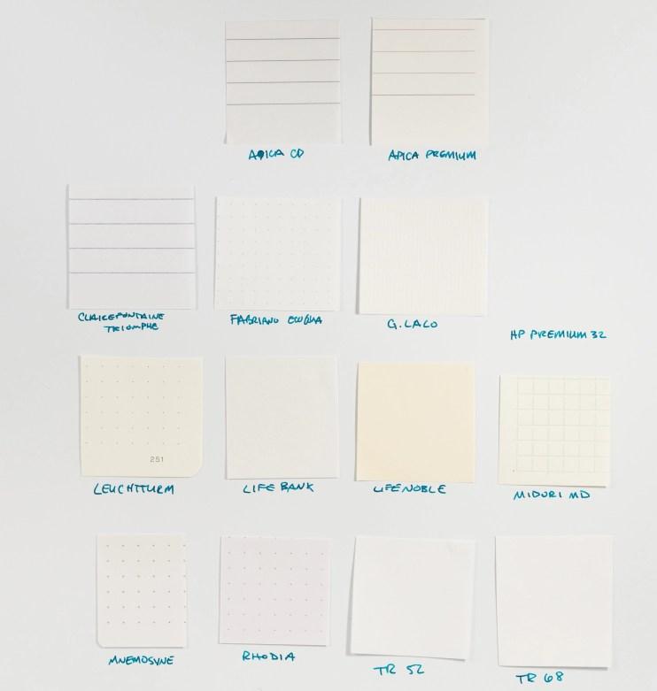 fountain pen friendly paper color comparison