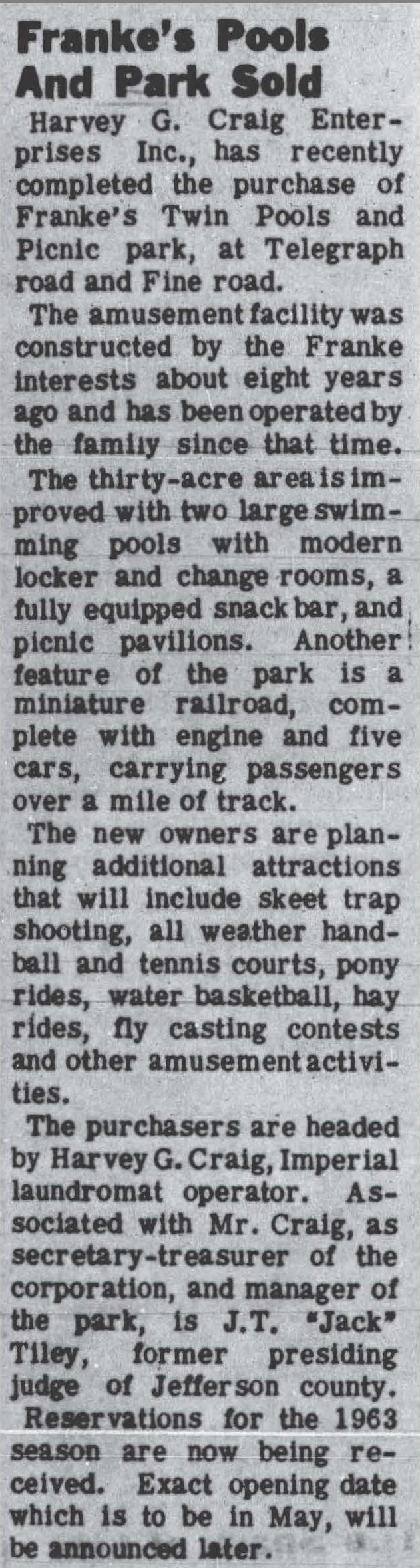 Newspaper Showing Purchase by Harvey Craig of Franke's Twin Pools and Picnic Park